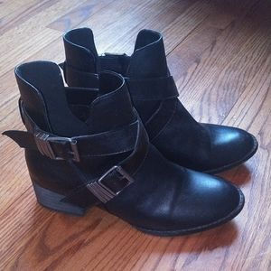Black booties w/cut out criss cross buckle
